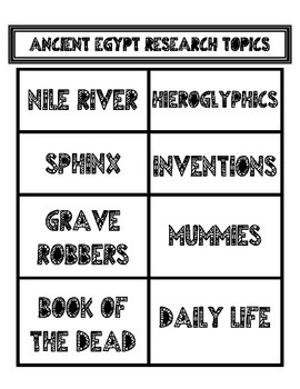 Ancient Egypt Research Topics