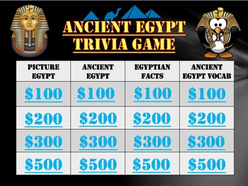 Ancient Egypt Trivia Game:  Fun Stuff