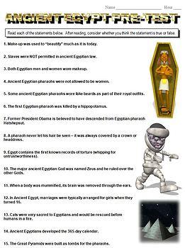 Ancient Egypt True/False Pre-Test