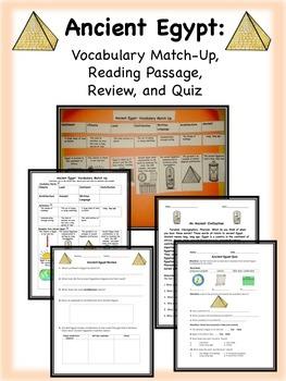 Ancient Egypt: Vocabulary, Reading Passage, Quiz