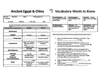 Ancient Egypt and Ancient China Graphic Organizer