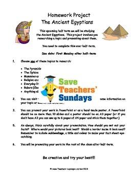 Ancient Egypt homework project & presentation Lesson plan