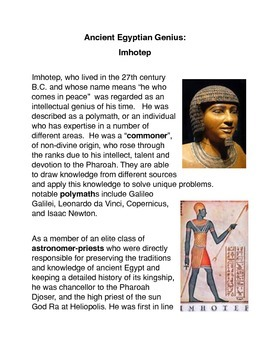 Ancient Egyptian Genius: Imhotep Common Core Science Activities