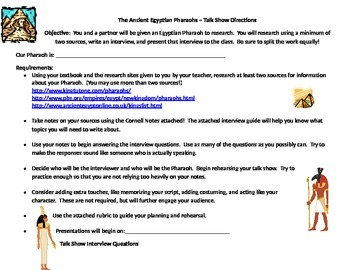 Ancient Egyptian Pharaohs Talk Show Project