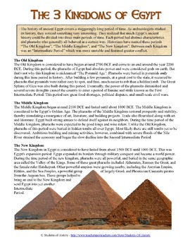 ancient egypt 39 s kingdoms reading worksheet by students of history teachers pay teachers. Black Bedroom Furniture Sets. Home Design Ideas