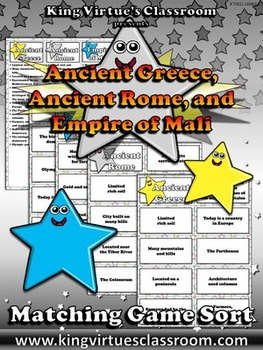 Ancient Greece, Ancient Rome, and Empire of Mali Matching
