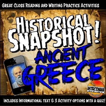 Ancient Greece Historical Snapshot Close Reading Investigation