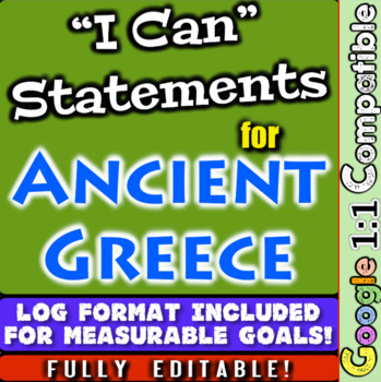"""Ancient Greece """"I Can"""" Statements & Learning Goals! Log &"""