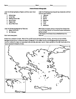 ancient greece map activity by middle school marketplace teachers pay teachers. Black Bedroom Furniture Sets. Home Design Ideas