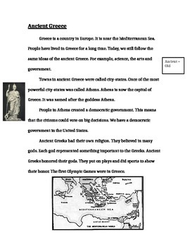 Ancient Greece Passage for Quiz
