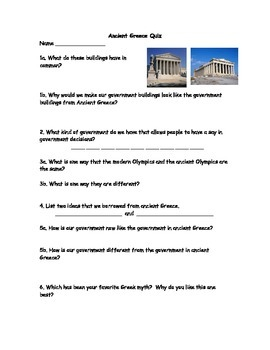 Ancient Greece Quiz