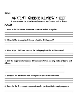 Ancient Greece Review Sheet