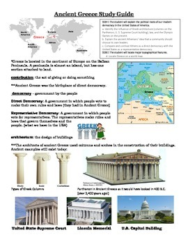 Ancient Greece Study Guide for Georgia Performance Standar