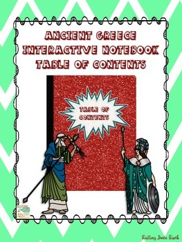 Ancient Greece - Table Of Contents for Interactive Notebook