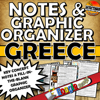 Ancient Greece Two Page CLOZE Notes & Graphic Organizer