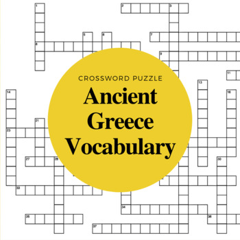 Ancient Greece Vocabulary Crossword Puzzle