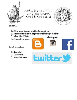 Ancient Greek God & Goddess Social Media Project