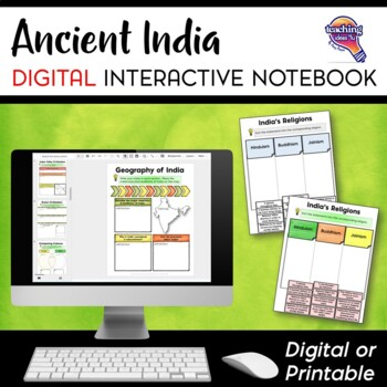 Ancient India DIGITAL Interactive Notebook Unit World History
