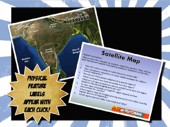 Ancient India Satellite Map Physical Geography PowerPoint