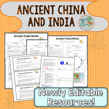 Ancient India and China PowerPoint, Cloze Notes, and Writi