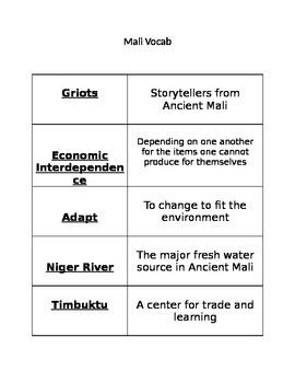 Ancient Mali Vocabulary Cards