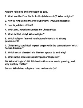 Ancient Philosphies  and Religions Quiz (with answers)