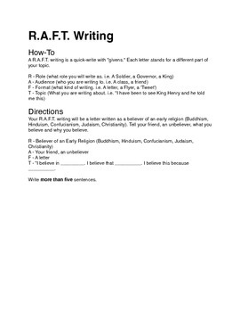 Ancient Religions R.A.F.T. Writing