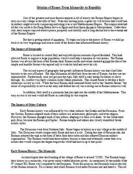 Ancient Roman History Unit - Articles and charts