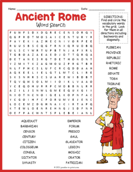 Ancient Rome Word Search Puzzle