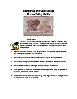 Ancient Rome-Comparing and Contrasting: Roman Eating Habit