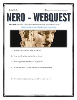 Ancient Rome - Nero - Webquest with Key