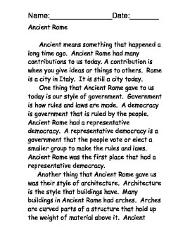 Ancient Rome Reading Comprehension