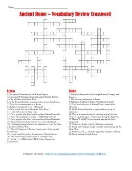 Ancient Rome Vocabulary Crossword Puzzle
