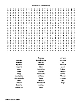 Ancient Rome and Christianity Vocabulary Word Search for W
