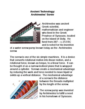 Ancient Technology:  Archimedes' Screw