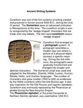 Ancient Writing Systems Common Core Reading and Writing Ac
