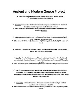 Ancient and modern Greece project outline