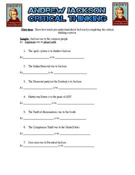 Andrew Jackson Critical Thinking Exercise