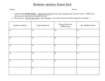 Andrew Jackson Event Sorting Activity