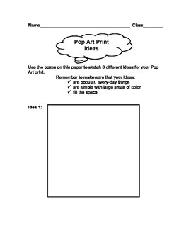 Andy Warhol Pop Art Prints Brainstorming Worksheet