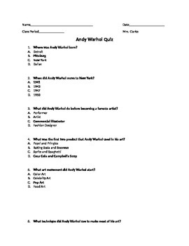 Andy Warhol Quiz with answers