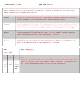 Anecdotal Assessment Records for IEP Goals