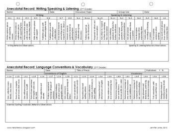 Anecdotal Record for ELA Writing, Speaking, & Language (Co