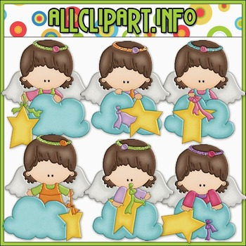 BUNDLED SET - Angel On A Cloud 2 Clip Art & Digital Stamp