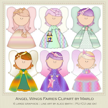 Angel Wings Fairies Clip Art Graphics Pkg 1