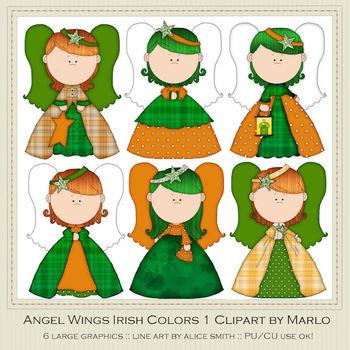 Angel Wings Irish Colors Clip Art Graphics Pkg 1