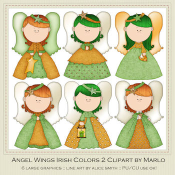 Angel Wings Irish Colors Clip Art Graphics Pkg 2