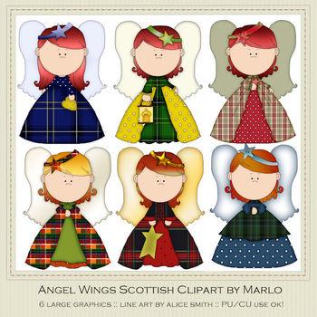 Angel Wings Scottish Colors & Patterns Clip Art Graphics Pkg 1