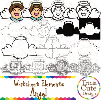 Angel Worksheet Elements Clip Art for Tracing Cutting Puzz