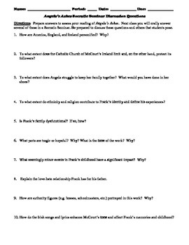 Angela's Ashes Socratic Seminar Discussion Questions